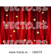 Vector of Horizontal Background of Vertical Red Stripes and Floating Gold Stars by Elaineitalia