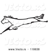Vector of Horse Leaping Black and White Woodcut by Xunantunich