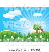 Vector of House and Tree in a Spring Landscape by Pushkin