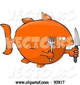 Vector of Hungry Orange Fish with a Knife and Fork by Djart