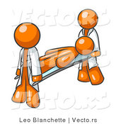Vector of Injured Orange Guy Being Carried on a Gurney to an Ambulance or into the Hospital by Two Paramedics After an Accident or Health Problem by Leo Blanchette