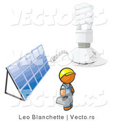 Vector of Installer Orange Guy by an Energy Saver Light Bulb and Solar Panel by Leo Blanchette