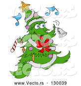 Vector of Jolly Christmas Tree Character with Ornaments, a Star and Garland, Dancing and Ringing a Bell While Listening to Music by LaffToon