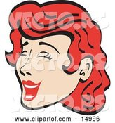 Vector of Jolly Red Haired Lady Closing Her Eyes and Laughing Retro by Andy Nortnik