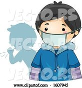 Vector of Kid Coughing Behind Boy Wearing Protective Medical Mask by BNP Design Studio
