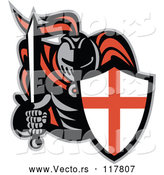 Vector of Knight in Full Armor, Holding a Sword and English Shield by Patrimonio