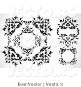 Vector of Leafy Border Frames - Black and White Digital Collage by BestVector
