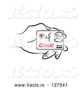 Vector of Line Drawn Hand Holding a Credit Card by Prawny