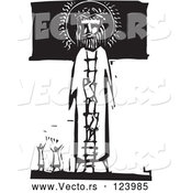 Vector of Little People Praising and Climbing a Ladder to Jesus Black and White Woodcut by Xunantunich
