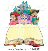 Vector of Little Red Riding Hood Open Book and Characters by Visekart
