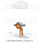 Vector of Lonely and Depressed Orange Guy Holing a Book over His Head to Shelter Himself from the Pouring Rain by Leo Blanchette