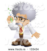 Vector of Male Scientist in a Laboratory, Holding a Test Tube by AtStockIllustration