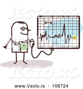 Vector of Male Stick Doctor Discussing an Electrocardiogram by NL Shop