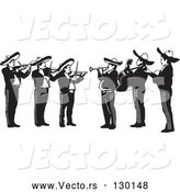 Vector of Mariachi Band of Men Playing Violins, Trumpets and Guitars in Mexico by David Rey