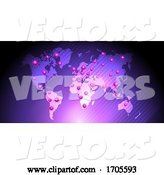 Vector of Medical Background with Virus Cells over World Map by KJ Pargeter