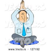 Vector of Meditating Business Man Sitting on the Floor in a Yoga Pose by Djart