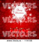 Vector of Merry Christmas Greeting on White Grunge over Red Baubles and Snowflakes by KJ Pargeter