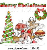 Vector of Merry Christmas Greeting over a Cow Holding Ribs, Chicken Carrying a Pulled Pork Sandwich and Pig Carrying a Roasted Chicken by LaffToon