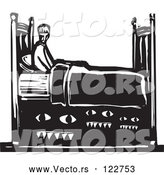 Vector of Monsters Under Guy's Bed - Black and White Woodcut Style by Xunantunich