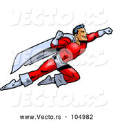Vector of Muscular Male Super Hero Flying to the Rescue by Clip Art Mascots