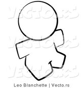 Vector of Nude Person Sitting - Coloring Page Outlined Art by Leo Blanchette