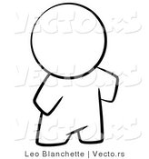 Vector of Nude Person Standing - Coloring Page Outlined Art by Leo Blanchette