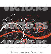 Vector of Orange and White Curly Vines on Brown Background by Michaeltravers