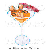 Vector of Orange Couple Soaking in a Cocktail Glass with an Umbrella by Leo Blanchette