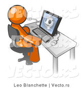 Vector of Orange Doctor Guy Sitting at a Computer and Viewing an Xray of a Head by Leo Blanchette