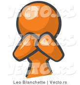 Vector of Orange Girl Covering Her Mouth and Acting Surprised by Leo Blanchette