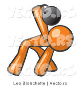 Vector of Orange Guy Bent over and Working out with a Kettlebell by Leo Blanchette