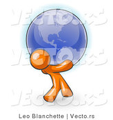 Vector of Orange Guy Carrying the Blue Planet Earth on His Shoulders, Symbolizing Ecology and Going Green by Leo Blanchette