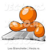 Vector of Orange Guy Character Seated and Reading the Daily Newspaper to Brush up on Current Events by Leo Blanchette