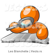 Vector of Orange Guy Character Using a Magnifying Glass to Examine the Facts in the Daily Newspaper by Leo Blanchette