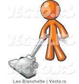 Vector of Orange Guy Cleaning with a Canister Vacuum by Leo Blanchette