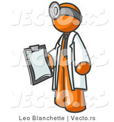 Vector of Orange Guy Doctor Holding a Clipboard by Leo Blanchette