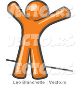 Vector of Orange Guy Facing Wall, His Arms Up, Prepared to Be Searched by Law Enforcement by Leo Blanchette