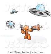 Vector of Orange Guy Fighting off UFO's with Weapons by Leo Blanchette