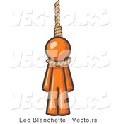 Vector of Orange Guy Hanging from a Rope by Leo Blanchette