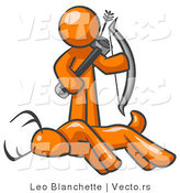 Vector of Orange Guy Holding Bow and Arrow over a Dead Buck Deer by Leo Blanchette