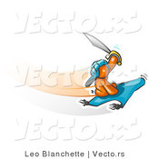 Vector of Orange Guy Holding up a Sword and Flying on a Magic Carpet by Leo Blanchette