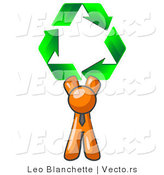 Vector of Orange Guy Holding up Three Green Arrows Forming a Triangle and Moving in a Clockwise Motion, Symbolizing Renewable Energy and Recycling by Leo Blanchette