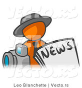 Vector of Orange Guy in Front of Newspaper and a Camera by Leo Blanchette