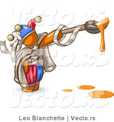 Vector of Orange Guy Jester with a Dripping Paintbrush by Leo Blanchette