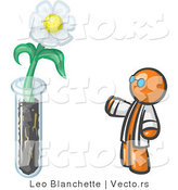 Vector of Orange Guy Scientist by a Giant White Daisy Flower in a Test Tube by Leo Blanchette