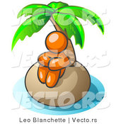 Vector of Orange Guy Sitting All Alone with a Palm Tree on a Deserted Island by Leo Blanchette