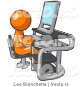 Vector of Orange Guy Sitting at a Desk in Front of a Computer with a Scanner at His Side by Leo Blanchette