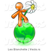 Vector of Orange Guy Standing on the Green Planet Earth and Holding a White Daisy, Symbolizing Organics and Going Green for a Healthy Environment by Leo Blanchette