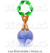 Vector of Orange Guy Standing on Top of the Blue Planet Earth and Holding up Three Green Arrows Forming a Triangle and Moving in a Clockwise Motion, Symbolizing Renewable Energy and Recycling by Leo Blanchette