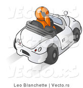 Vector of Orange Guy Talking on a Cell Phone While Driving in a Convertible Car by Leo Blanchette